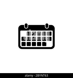 Calendar icon in black for web, mobile on isolated white background. EPS 10 vector. - Stock Photo