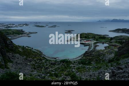 View from mount Festvagtinden above the village of Henningsvaer in Norway. Cloudy day. Travel concept. Lofoten