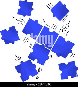 Vector flat illustration of several piece of puzzles, scattering on white space. Solving problem, jigsaw concept - teamwork for business success - Stock Photo