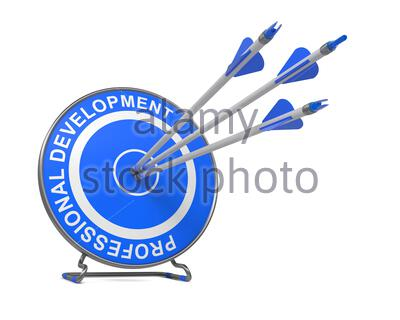 Professional Development - Business Concept. Three Arrows Hitting the Center of a Blue Target, where is Written 'Professional Development'. - Stock Photo