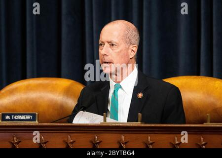 """Washington, U.S. 10th June, 2020. June 10, 2020 - Washington, DC, United States: U.S. Representative Mac Thornberry (R-TX) at the Department of Defense House Armed Service Committee Hearing on """"Department of Defense COVID-19 Response to Defense Industrial Base Challenges"""". (Photo by Michael Brochstein/Sipa USA) Credit: Sipa USA/Alamy Live News - Stock Photo"""