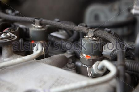 close up of diesel engine fuel injection nozzle - Stock Photo