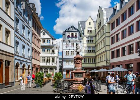 Frankfurt, Germany - July 2019: Frankfurt Old Town view and tourists in summer in The Altstadt (old town),   a city district of Frankfurt am Main - Stock Photo