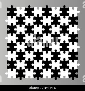 Jigsaw puzzle seamless background. Mosaic of black and white pieces looks like chess desk. Simple flat vector illustration. - Stock Photo