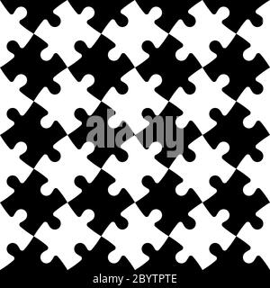 Jigsaw puzzle seamless background. Mosaic of black and white pieces in diagonal arrangement. Simple flat vector illustration. - Stock Photo