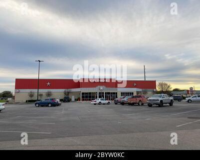 Seguin, TX/USA - 2/24/20:  The exterior of a King Ranger Movie Theatre in Seguin, TX.