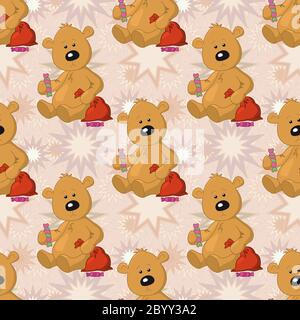 Seamless pattern, teddy bear with Christmas bag - Stock Photo