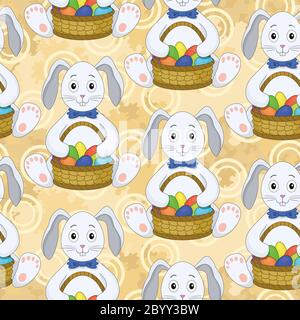 Seamless pattern, Bunnies with Easter eggs - Stock Photo