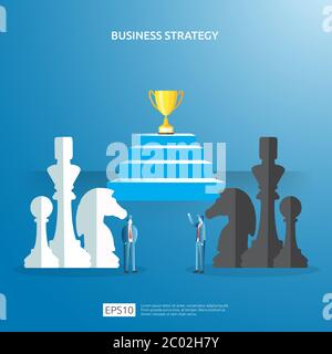 Business concept for competition strategy. winning success planning illustration with chess figure and businessman character. Victory in leadership - Stock Photo