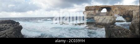 Azure Window, famous stone arch on Gozo island, Malta - Stock Photo