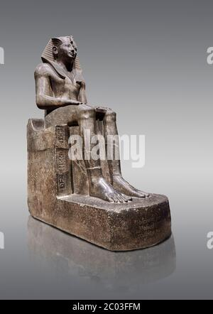 Ancient Egyptian statue of Tuthmosis II, granodorite, New Kingdom, 18th Dynasty, (1479-1425 BC), Karnak, Temple of Amun. Egyptian Museum, Turin. Grey - Stock Photo