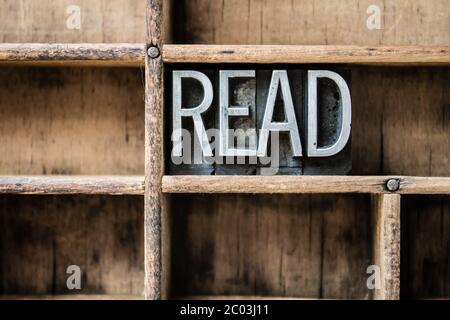 Read Letterpress Type in Drawer - Stock Photo