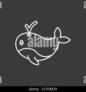 Whale vector icon. Underwater. Animal symbol isolated on background.