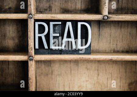 Read Concept Metal Letterpress Word in Drawer - Stock Photo