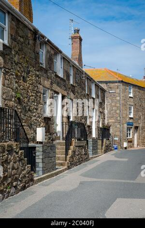 Saint Ives, Cornwall, UK. Picturesque traditional cottages in St Ives. - Stock Photo