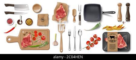 Butcher Shop, Restaurant Brand Identity mockup set isolated. Branding packaging mock up elements for meat shop, cafe or steak house. supermarket food