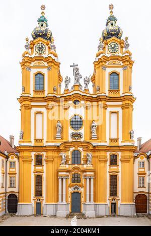 Melk Abbey Church. Main portal with two towers. Melk, Austria.