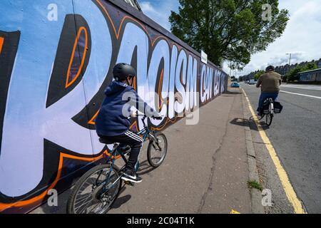 Edinburgh, Scotland, UK. 11 June 2020. Anti-racism graffiti has appeared on a street in Edinburgh. Iain Masterton/Alamy Live News