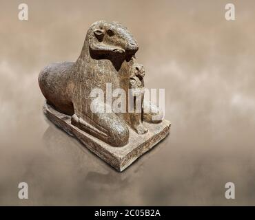 Ancient Egyptian statue of a Ram proytecting King Amenhotep III, granite, New Kingdom, early 18th Dynasty (1390-1353), Karnak, Temple of Mut. Egyptian - Stock Photo
