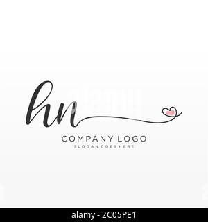 HN Initial handwriting logo design with circle. Beautyful design handwritten logo for fashion, team, wedding, luxury logo. - Stock Photo
