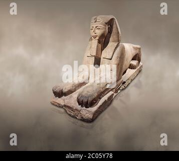 Ancient Egyptian Sphinx statue, sandstone, New Kingdom, early 19th Dynasty (1292-1250), Karnak, Temple of Amon. Egyptian Museum, Turin.   The Phatoah - Stock Photo