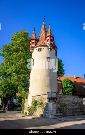 Diebsturm, Lindau Island, Lindau on Lake Constance, Swabia, Germany - Stock Photo