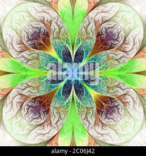 Beautiful fractal flower in brown, blue and green. Computer generated graphics. - Stock Photo