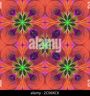 Pattern from fractal flowes in purple and green. Computer generated graphics. - Stock Photo