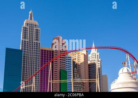 Las Vegas, NV / USA - February 27 2019: Located on the Las Vegas Strip, New York - New York Hotel and Casino features a rollercoaster and replicas of - Stock Photo