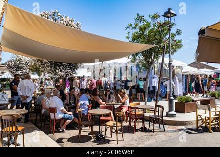 Visitors Enjoy a Break and a Coffee Under the Canopy Shade of this Cafe During the Busy, Weekly Summer Market, Whilst Others Browse the Stalls in San