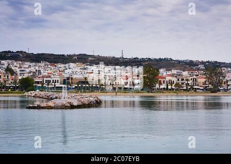 RETHYMNO, THE CRETE ISLAND, GREECE - MAY 30, 2019: View at Rethymno city from harbour, the Crete island, Greece - Stock Photo