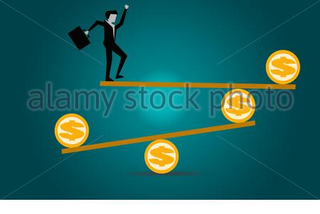 Businessman balancing in financial dollar concept, 3D rendering - Stock Photo