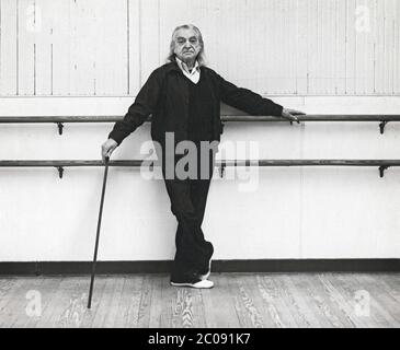 Posed portrait of maestro Vincenzo Celli, a teacher, choreographer and former ballet star in his studio & classroom in Midtown  Manhattan in 1980. - Stock Photo