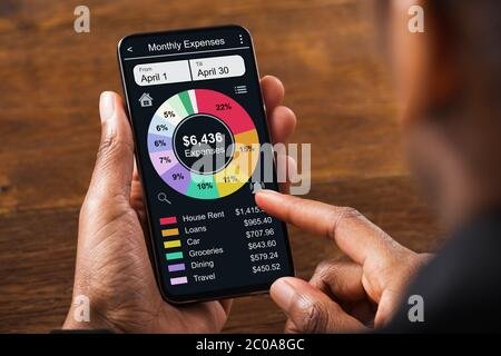 Mobile Phone App For Money, Budget And Expense Tracking - Stock Photo