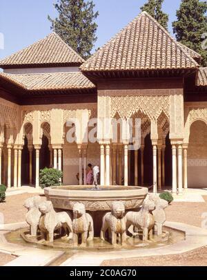Patio de los Leones (Court of the Lions), Palacio Nazaries, La Alhambra, Grenada, Grenada Province, Andalucia (Andalusia), Kingdom of Spain - Stock Photo