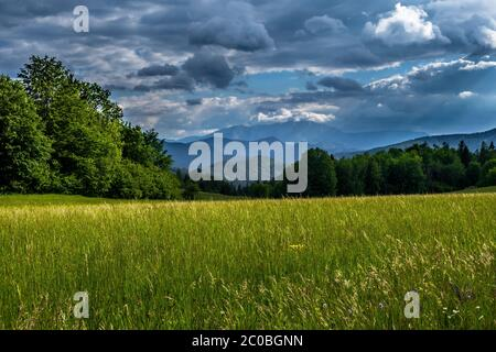 Mountains Of Alps And Rural Landscape In Austria - Stock Photo