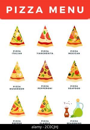 Pizza Menu vector flat icons set isolated on white. - Stock Photo