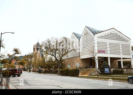 Boulder, Colorado - May 27th, 2020:  Exterior of First United Methodist Church near Pearl Street Mall in Boulder County - Stock Photo
