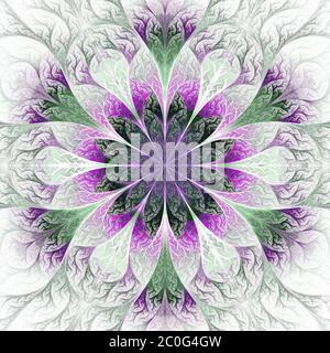 Beautiful fractal flower in gray, purple and green. Computer generated graphics. - Stock Photo