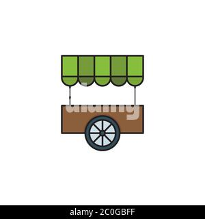 Farmers market stall vector icon symbol isolated on white background