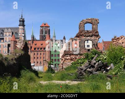Looking through a ruin of the old town in Gdansk - Stock Photo