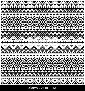 abstract seamless patchwork pattern from black white color ethnic ornaments vector - Stock Photo