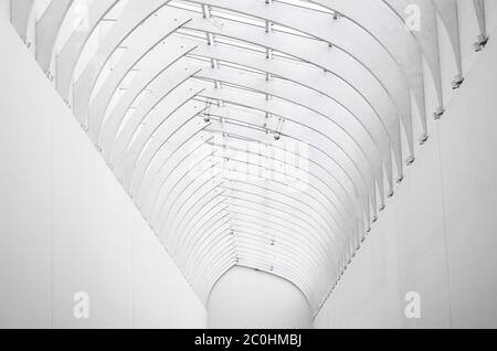 White arch of steel and glass, view far perspective - Stock Photo
