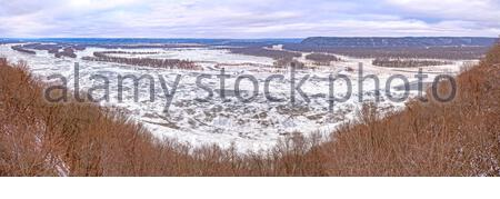 Panoramic Confluence of the Wisonsin and Mississipi Rivers in Winter from Pikes Peak State Park in Iowa - Stock Photo