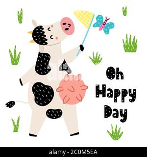 Oh happy day cards with a cute cow catches a butterfly by net - Stock Photo