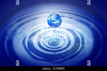 Earth in drop of water and reflection of the world on water wave, Elements of this image furnished by NASA - Stock Photo
