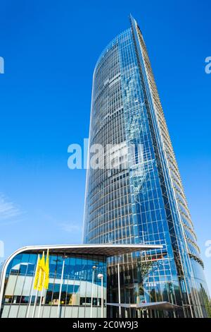 BONN, GERMANY - JUNE 29, 2018: Post Tower is the headquarters of the logistic company Deutsche Post DHL in Bonn city in Germany