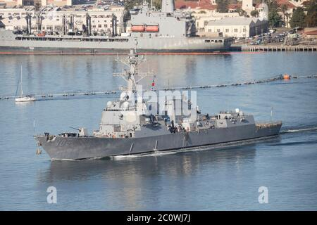 DDG-106 USS Stockdale Arleigh Burke Class Destroyer of the United States Navy at San Diego Naval Base October 2019 - Stock Photo