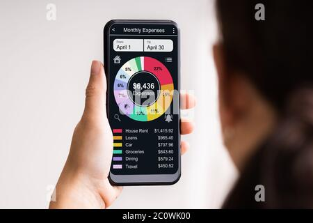 Online Bank Mobile Phone App For Money Tracking - Stock Photo