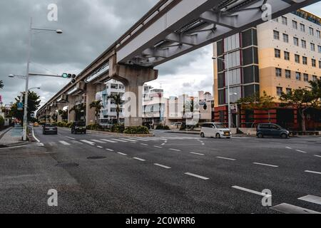 Monorail tracks over a road in Naha Okinawa Japan